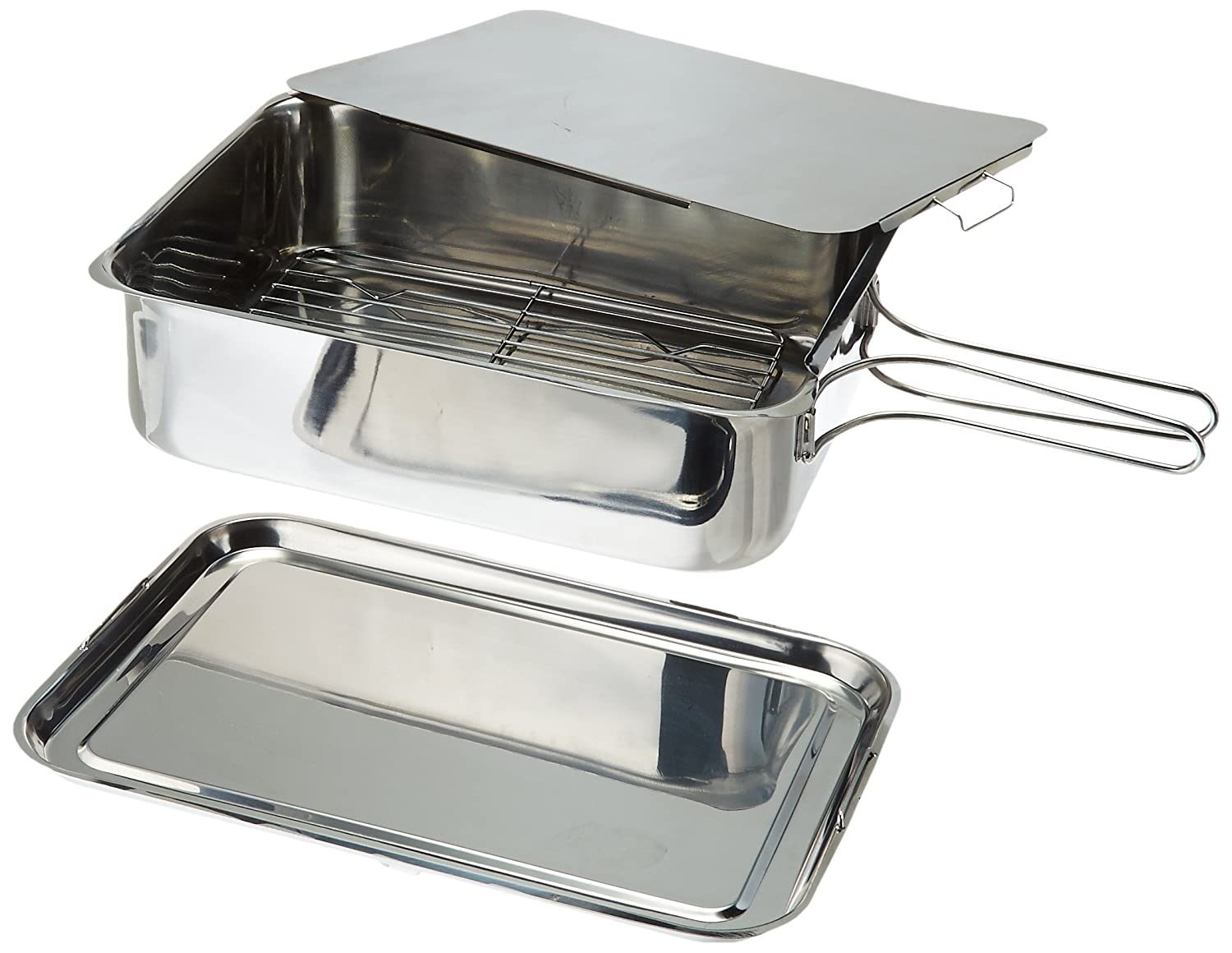 "ExcelSteel Stainless Steel Stovetop Smoker, 14 1/2"" X 10 1/2"" X 4"", Silver"