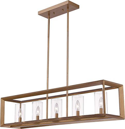 Emliviar 5-Light Dining Room Lighting Fixtures, Vintage Pendant Light for Kitchen Island, Antique Gold Finish with Clear Glass Shade, 3040-5