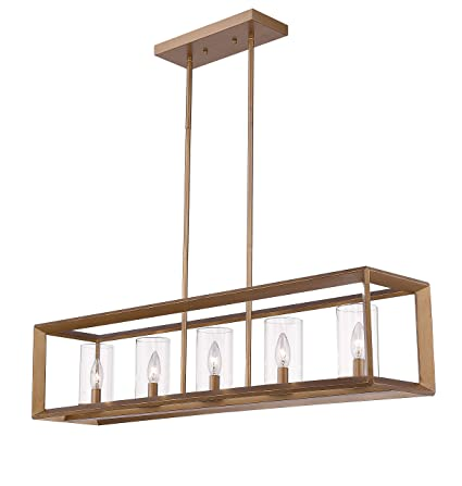 promo code 4d6c8 63397 Emliviar 5-Light Dining Room Lighting Fixtures, Vintage Pendant Light for  Kitchen Island, Antique Gold Finish with Clear Glass Shade, 3040-5