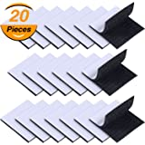 TecUnite 20 Pairs 2.5 x 2.5 Inches Square Self Adhesive Hook and Loop Tape Square Sticky Fastener Tapes, Black