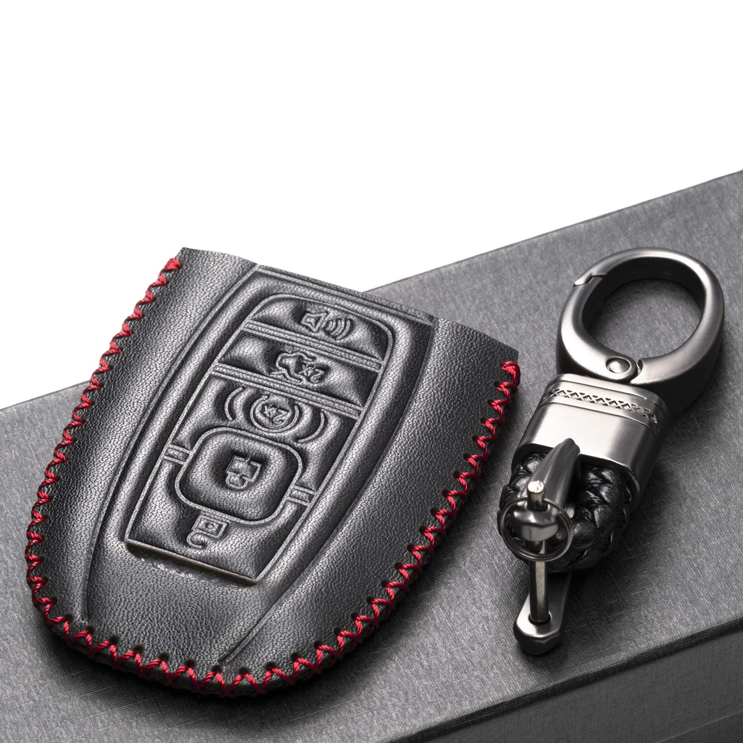 2018-2019 Lincoln Navigator 5 Buttons, Brown Vitodeco Genuine Leather Keyless Smart Key Fob Case Cover Protector with Leather Key Chain for 2017-2019 Lincoln Continental MKZ MKX MKC