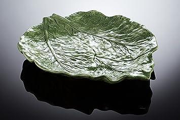 BASSANO Salat Beistellschale in Blattform italienische Keramik Reliefen 20x18