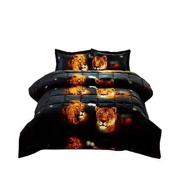 3 Piece Set Box Stitched Lion Pride Prints 3d Comforter Set (Y15) Queen Size