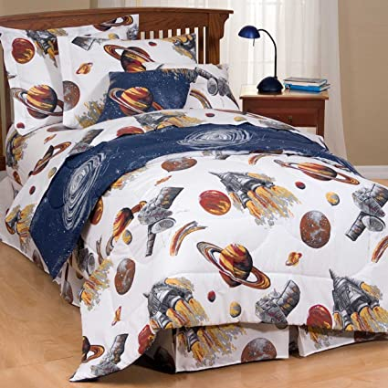 kids outer space bedding sets comforter set bed sheets galaxy white full - Space Bedding