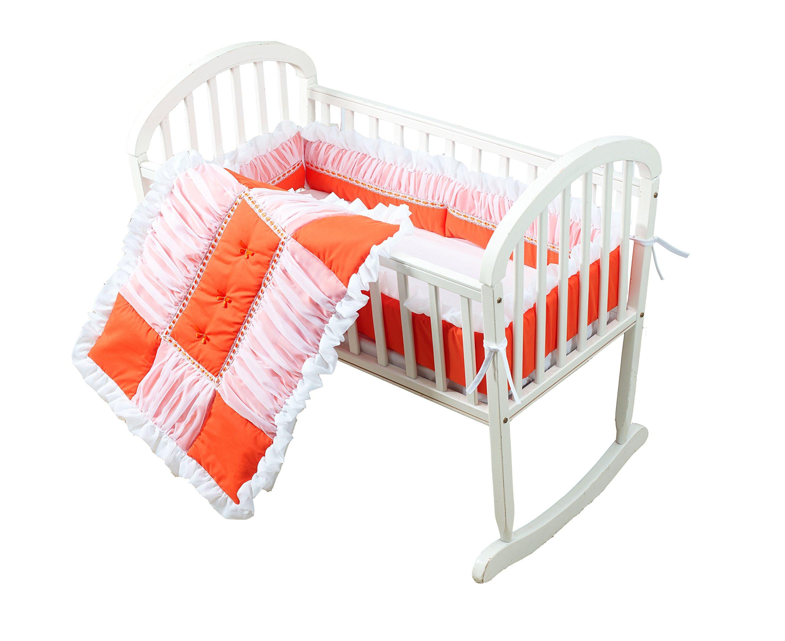 Baby Doll Sweet Touch Baby 3 Piece Cradle Bedding Set, Orange
