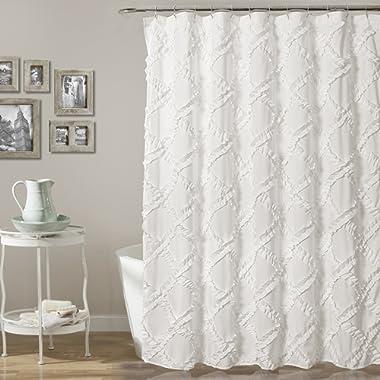 Lush Decor Ruffle Diamond Shower Curtain, 72  x 72 , White