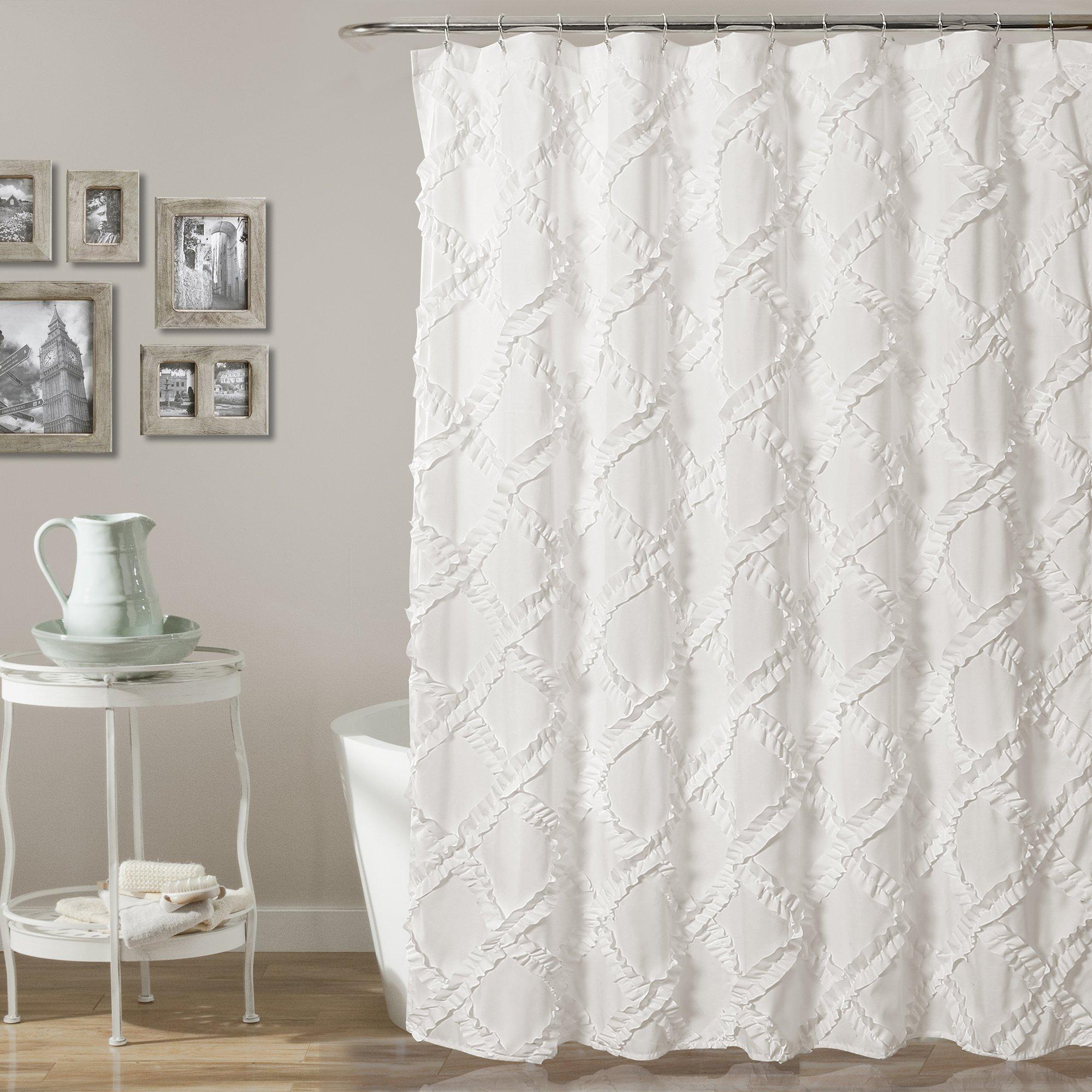 Lush Decor Ruffle Diamond Shower Curtain, Gray