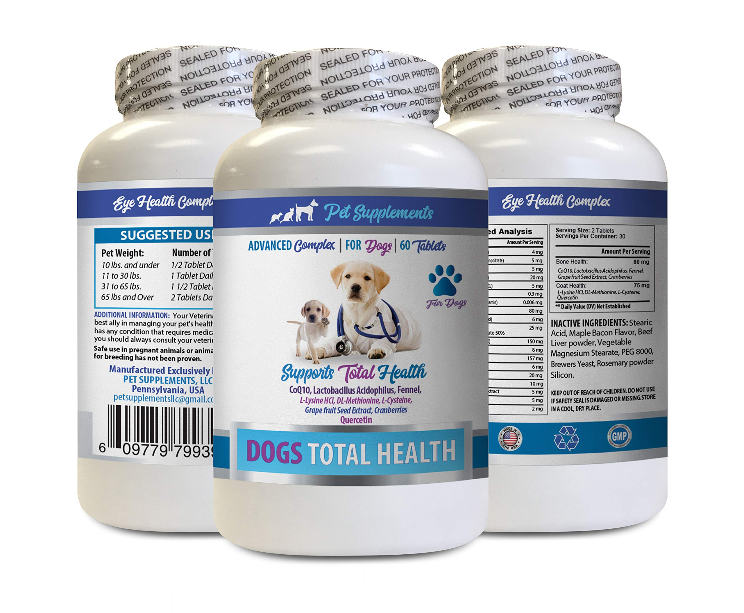 PET SUPPLEMENTS Dog flakey Skin - Dog Total Health Complex - Eye Teeth Hair Joint Support - Advanced - Dog Vitamin b Complex - 1 Bottle (60 Tablets) by PET SUPPLEMENTS