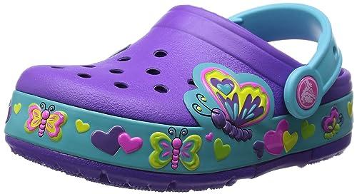 Crocs Crocband Lights Butterfly PS, Zoccoli e sabot, Unisex bambino, Viola  (NPAQ