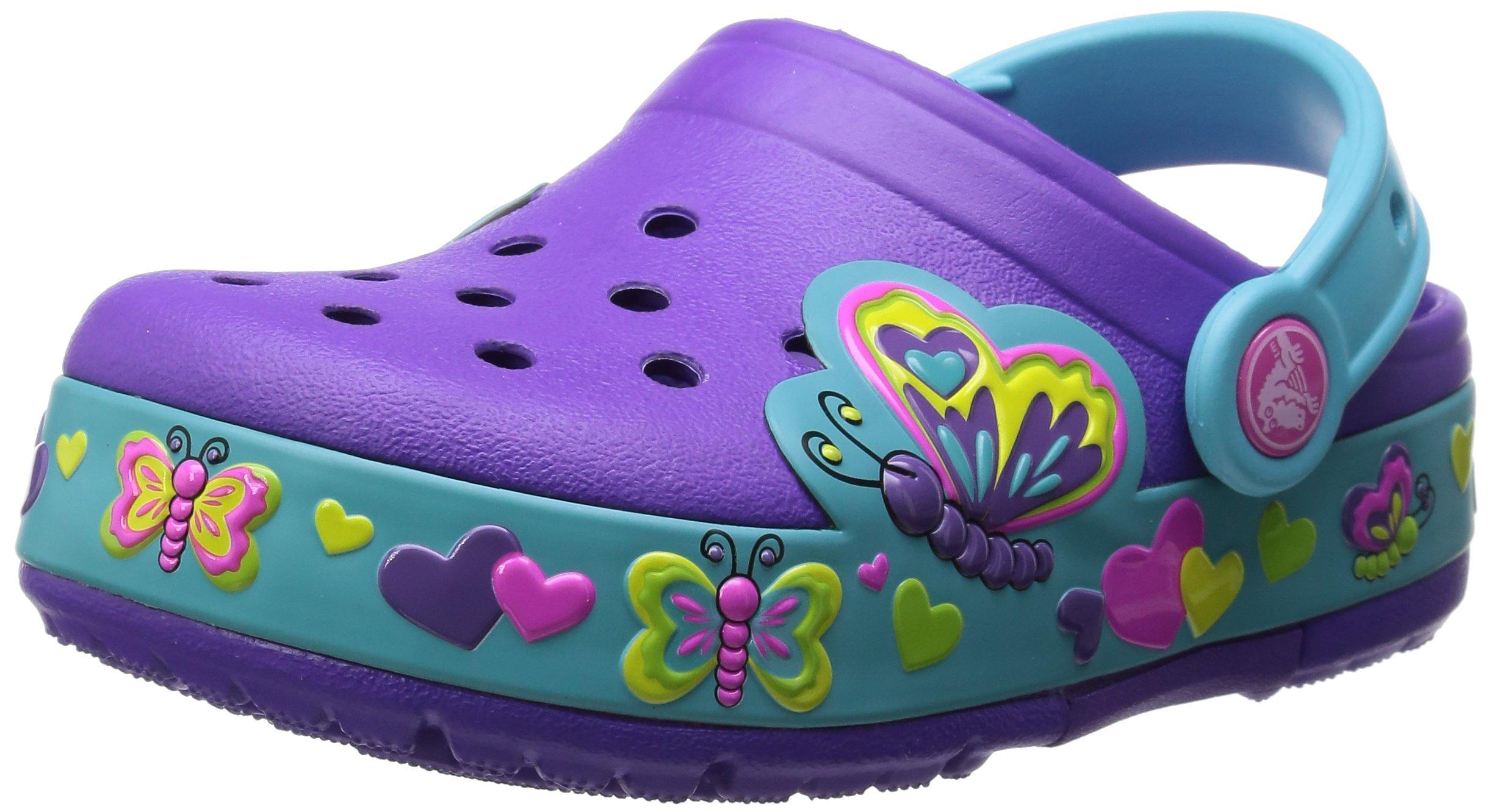 Crocs Kids Butterfly Light-up Clog (Toddler/Little Kid),Neon Purple/Aqua,10 M US Toddler