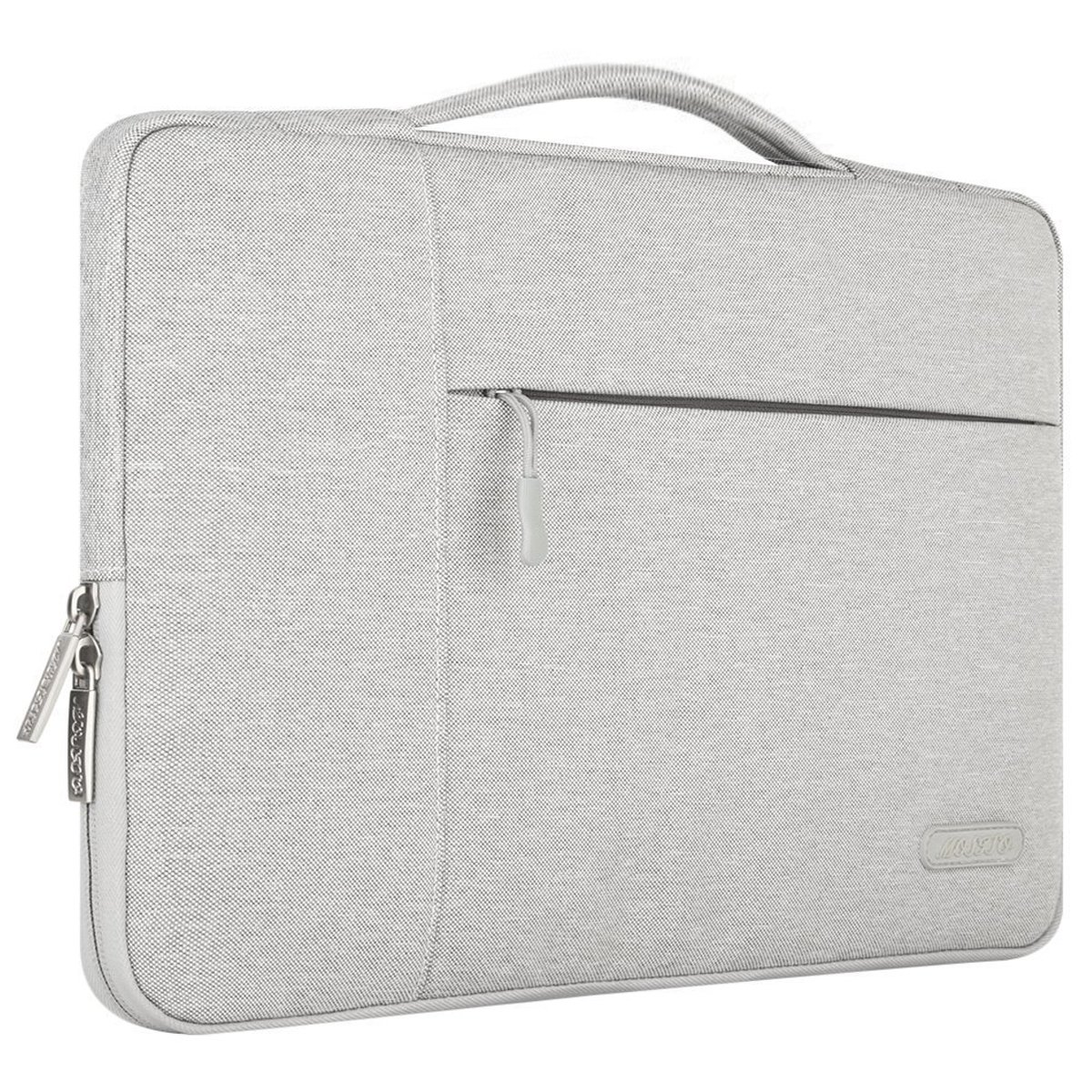 MOSISO Laptop Sleeve Briefcase Handbag Compatible 15-15.6 Inch MacBook Pro, Notebook Computer, Polyester Fabric Multifunctional Carrying Case Protective Bag Cover, Gray