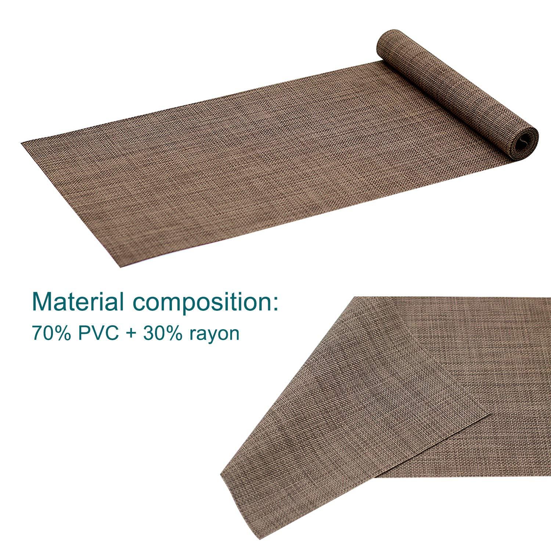 Kreatur Table Runner Easy to Clean Indoor//Outdoor 12x72 Crossweave Woven Vinyl Table Runner Black