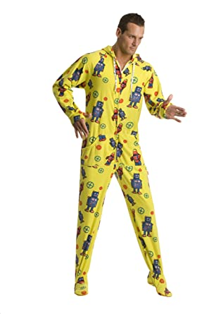 9ccb99eb6 Amazon.com  Jumpin Jammerz Retro Robots Yellow Adult Footed Onesie ...