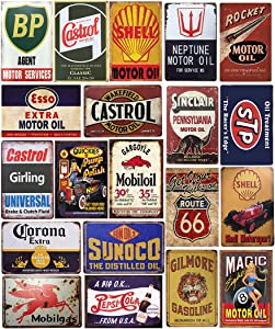 Panguru 26 Pieces Gas and Oil Tin Signs, Retro Vintage Metal Sign for Home Man Cave Garage, 8x12 Inch/20x30cm