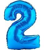 Amscan, Palloncino a forma di numero 2, 58 x 88 cm, colore: Blu