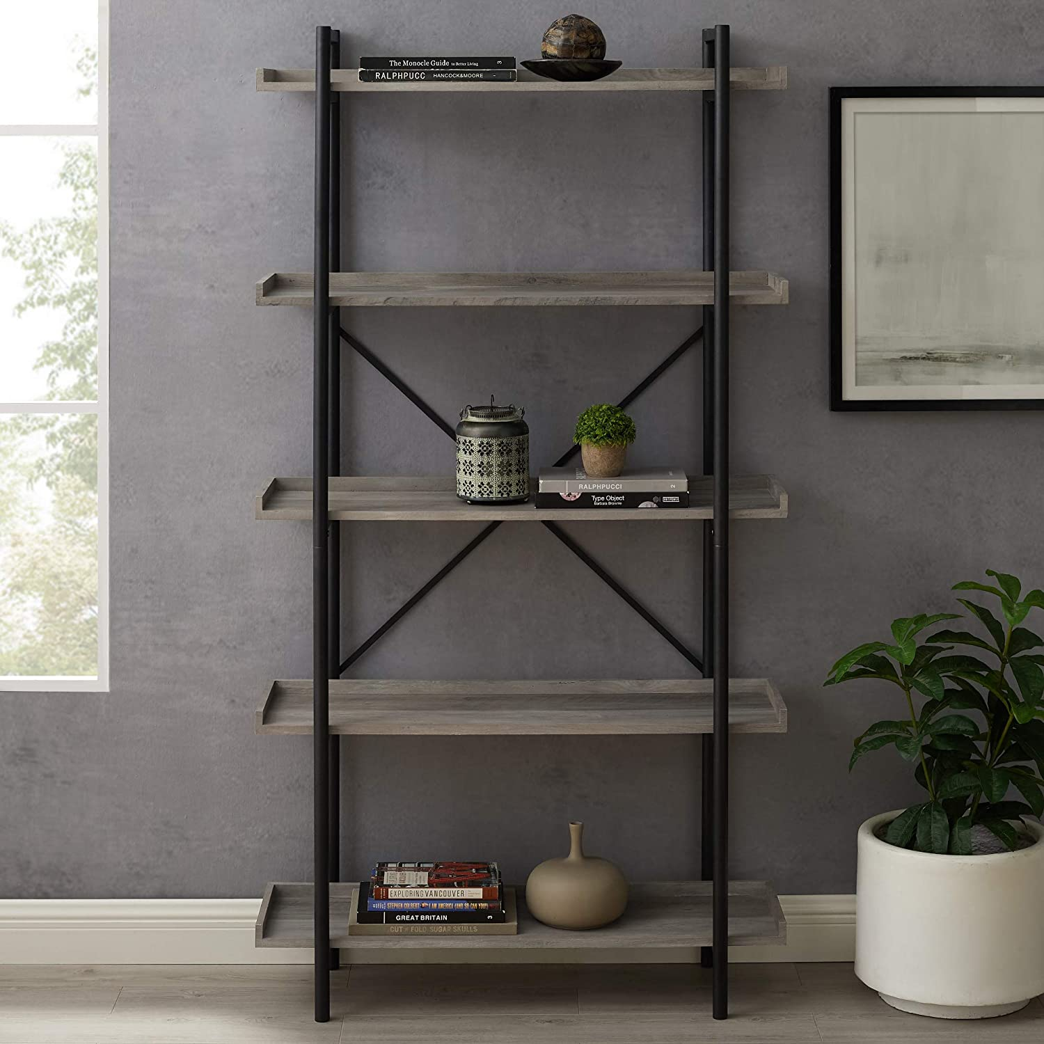 68 Industrial Metal Bookcase Grey Wash