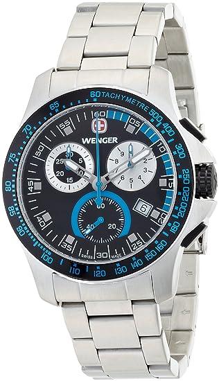 Wenger 70787 - Reloj analógico de cuarzo para hombre con correa de acero inoxidable, color negro: Wenger: Amazon.es: Relojes