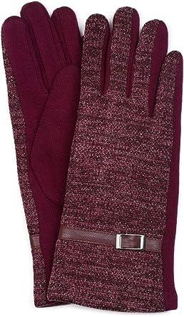 225c2c768b4d5 styleBREAKER Gants chauds en tissu pour femme avec du fil brillant et une doublure  en polaire