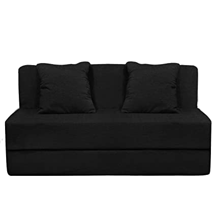 premium selection 6fd2b f279b Aart Two Seater Sofa Cum Bed with Two Cushion - Perfect for Guests - Poly  Cotton Fabric Washable Cover - Black  4' X 6' Feet