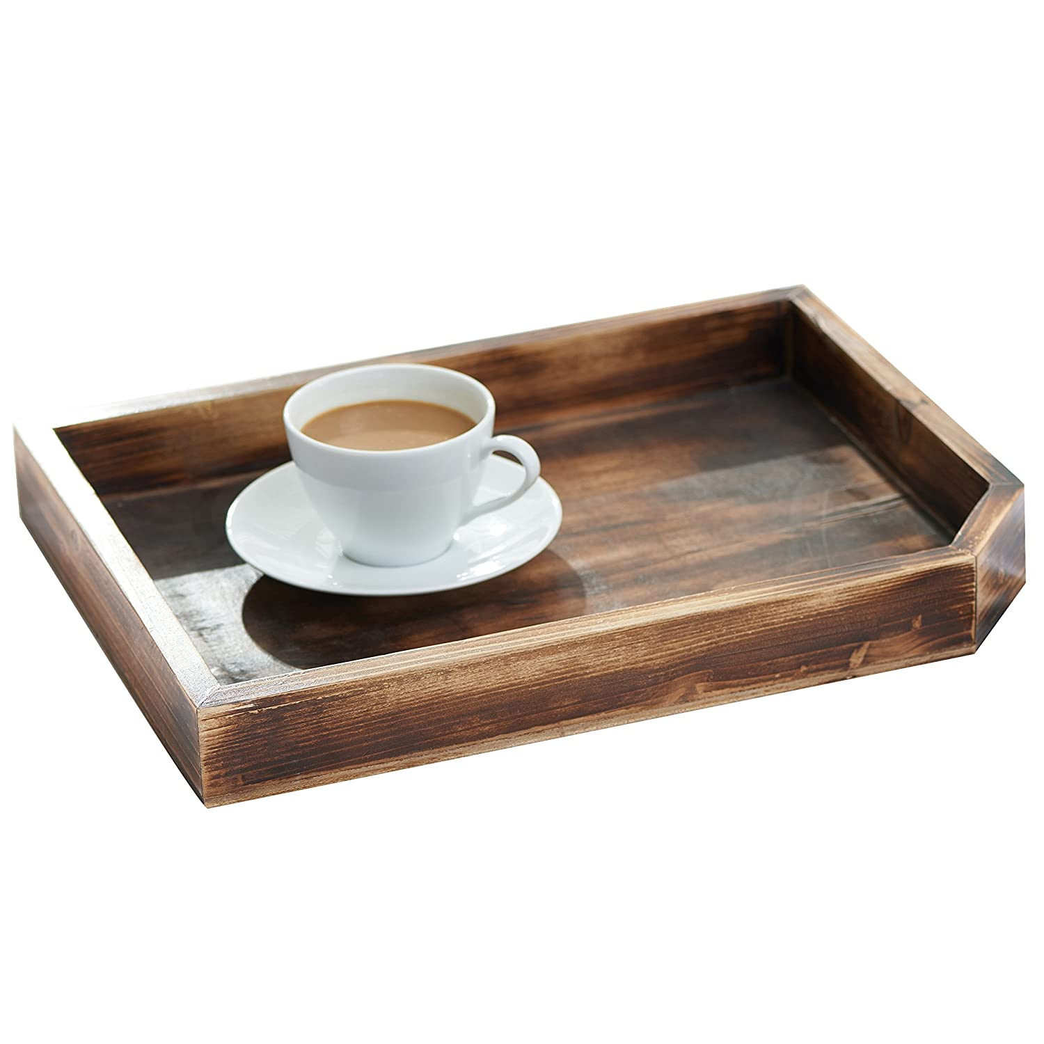 Vintage Wooden Coffee Table Display Tray / Wood Magazine and Document Holder, Dark Brown MyGift