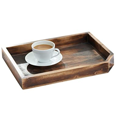 Vintage Wooden Coffee Table Display Tray/Wood Magazine and Document Holder, Dark Brown