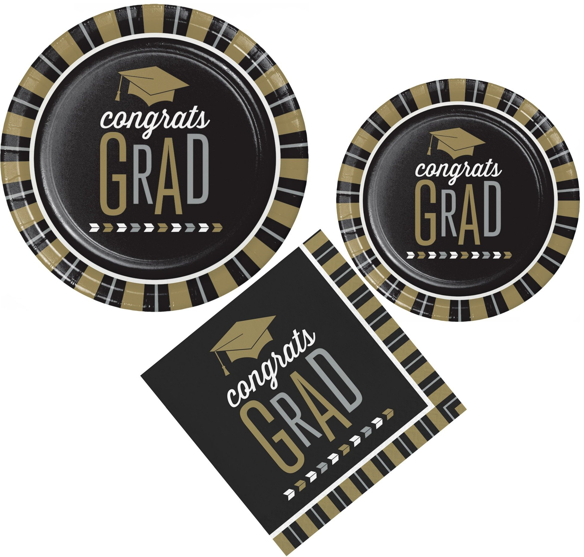Glitzy Grad Graduation Themed Party Supply Pack! Bundle Includes Paper Plates and Napkins for 8 Guests