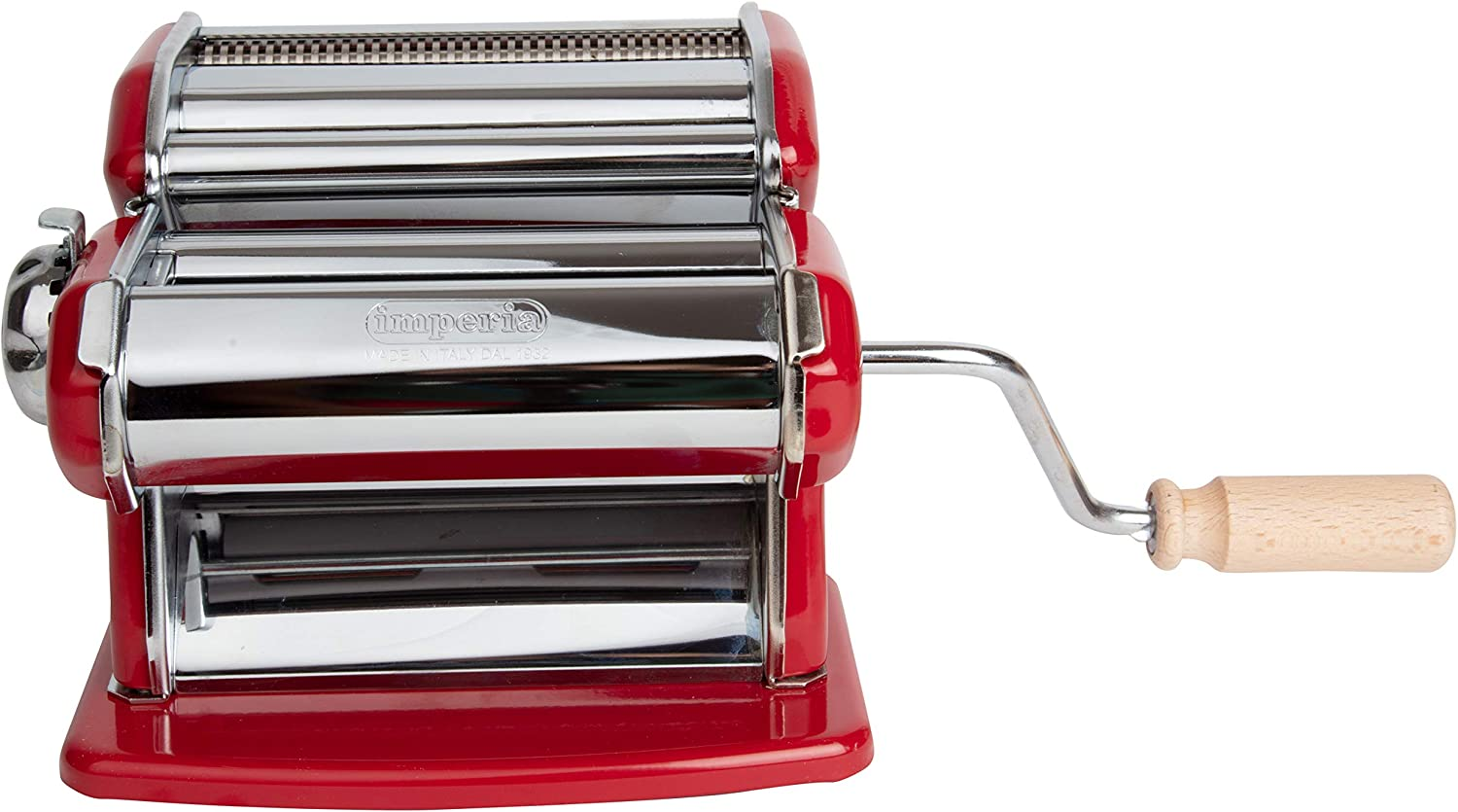 Red Heavy Duty Steel Construction with Easy Lock Dial /& Wood Grip Handle for Italian Cooking Imperia Pasta Maker Machine