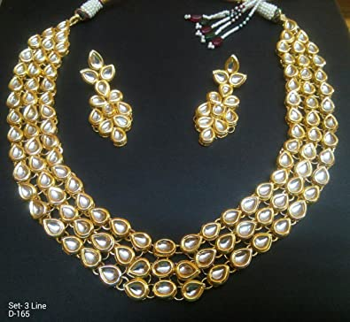 6bcdd2642341d Amazon.com: Traditional Necklace Indian Bridal Kundan Jewellery ...