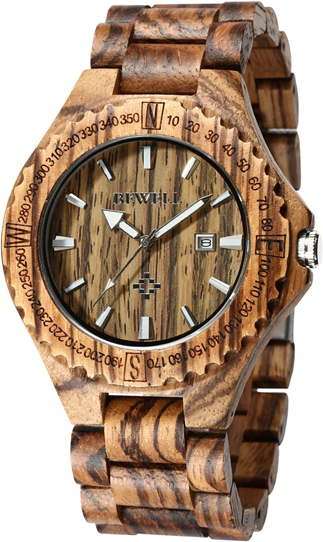 BEWELL ZS-W023A Mens Wooden Watch Quartz Movement Lightweight Handmade Calendar Analog Wrist Watch