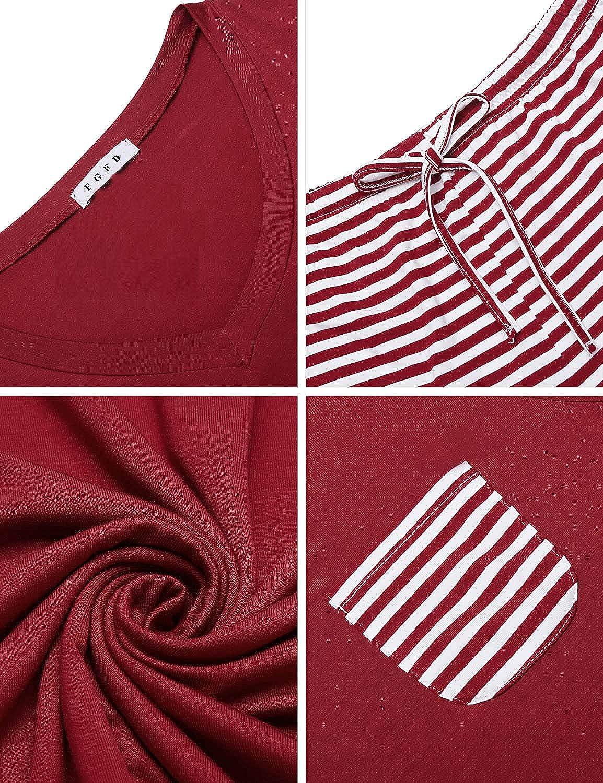 Pantalone Pigiama a Righe Cotone Morbido e Confortevole Casual Oversize Estivo FGFD Pigiama Donna Maglietta Manicha Corta Scollo a V