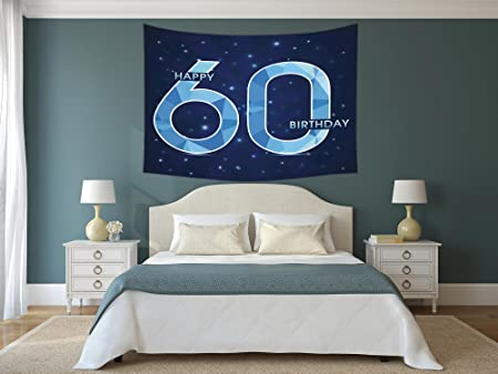 IPrint Polyester Tapestry Wall Hanging60th Birthday DecorationsSpace Theme Stage With Star Like