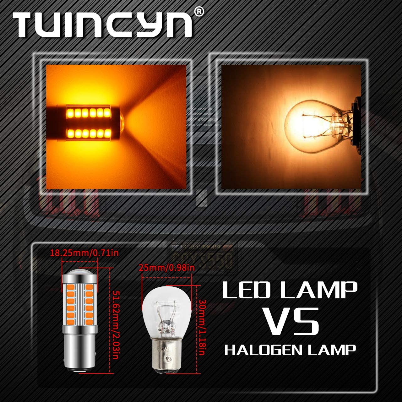 TUINCYN 1157 BAY15D LED Bulb Amber Yellow Turn Signal Light Bulb Super Bright 8000K 5630 33SMD 1016 1034 7528 2057 Tail Brake Light Back Up Reverse Light Parking Light DC 12V Pack of 2