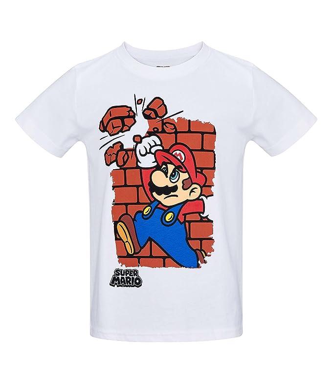 Nintendo Super Mario Bros Chicos Camiseta Manga Corta - Blanco: Amazon.es: Ropa y accesorios