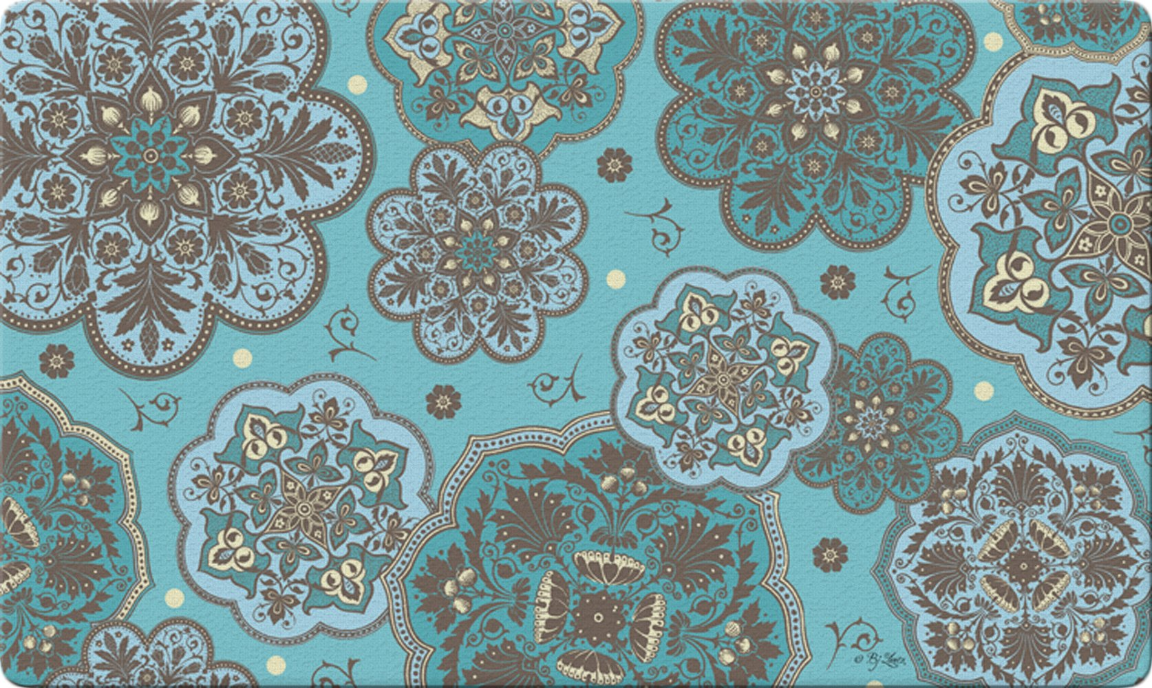 Toland Home Garden Blue Marrakesh 18 x 30 Inch Decorative Floor Mat Paisley Design Pattern Doormat