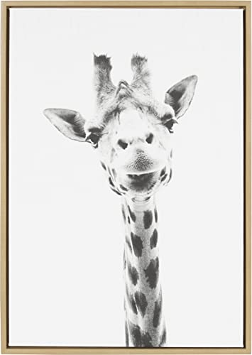 Kate and Laurel Sylvie Giraffe Animal Print Black and White Portrait Framed Canvas Wall Art