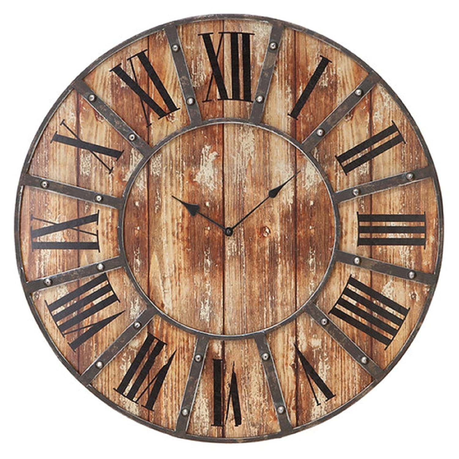 Amazon oversized 24 rustic metal wall clock roman numeral amazon oversized 24 rustic metal wall clock roman numeral numbering home kitchen amipublicfo Choice Image
