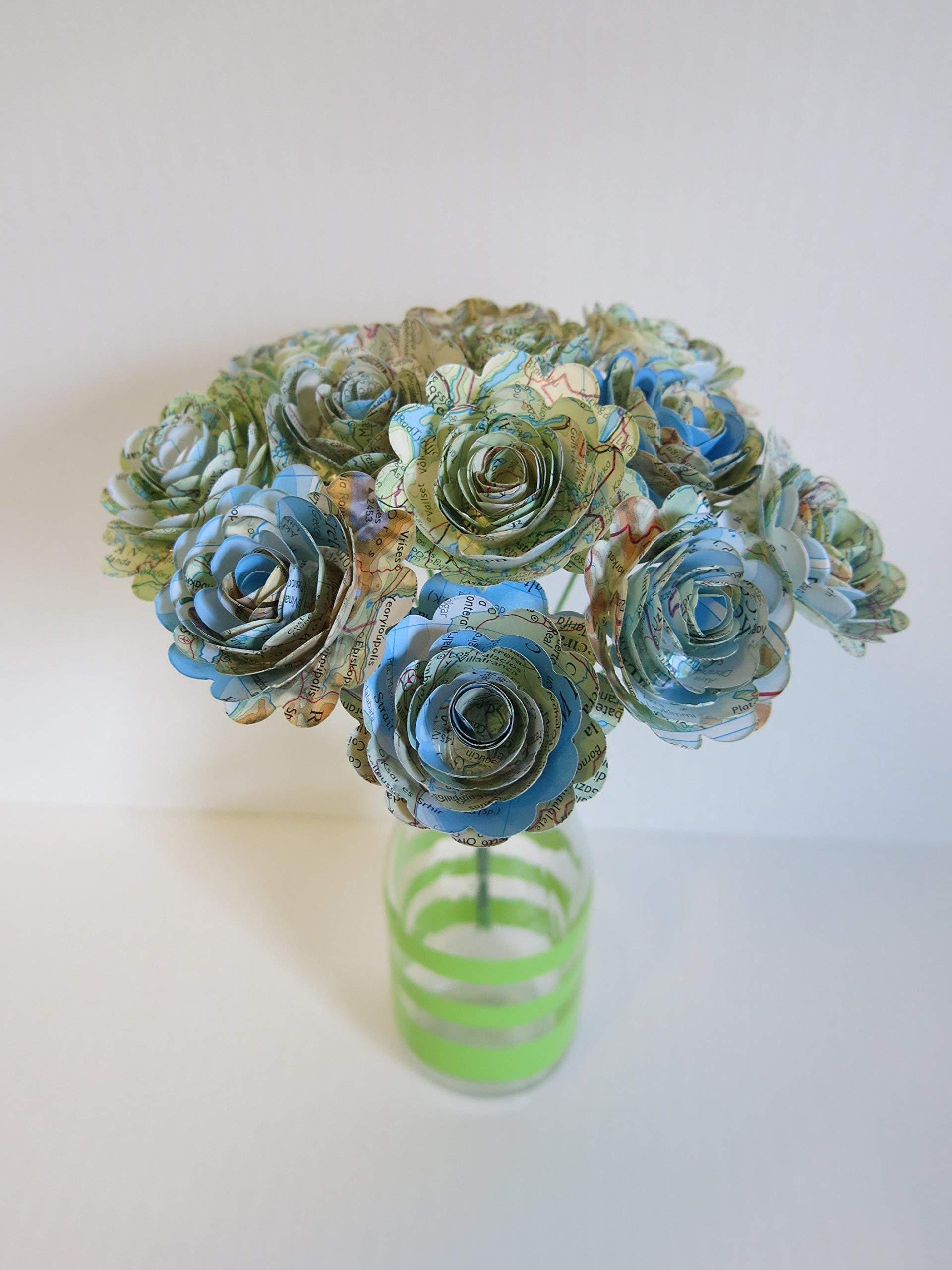 Scalloped-World-Atlas-Roses-15-Paper-Flowers-on-Stems-One-Dozen-Travel-Theme-Birthday-Party-Decor-Wedding-Decor-Bridal-Shower-Centerpiece-Map-Flowers