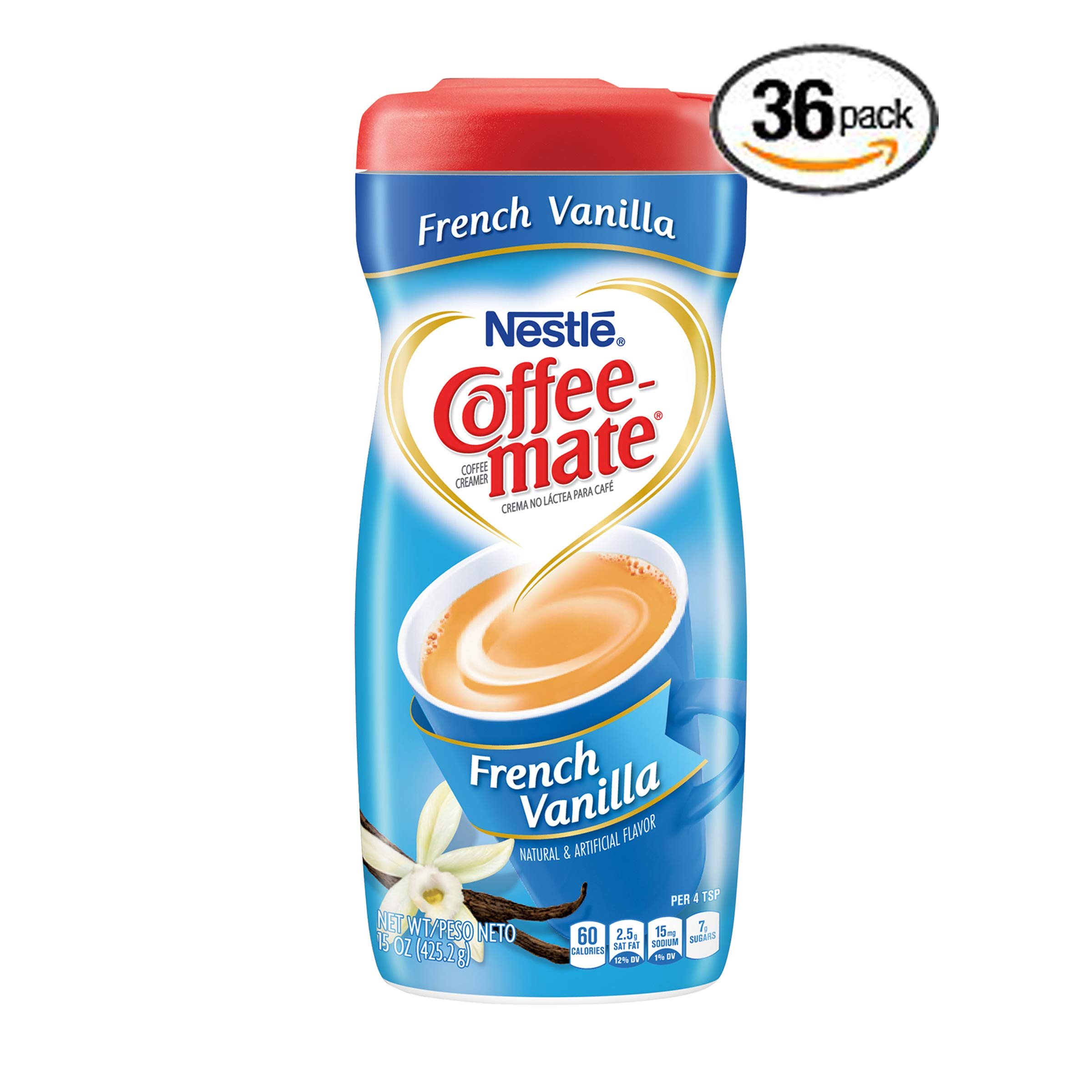 Nestle Coffee-mate Coffee Creamer, French Vanilla, 15oz powder creamer - Pack of 36