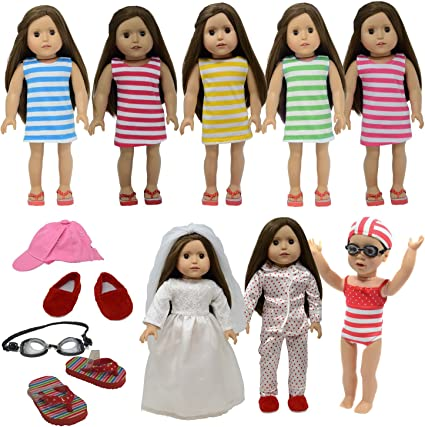American Girl Doll Stripes /& Dots Swimsuit with Beach Accessories Towel NEW!!