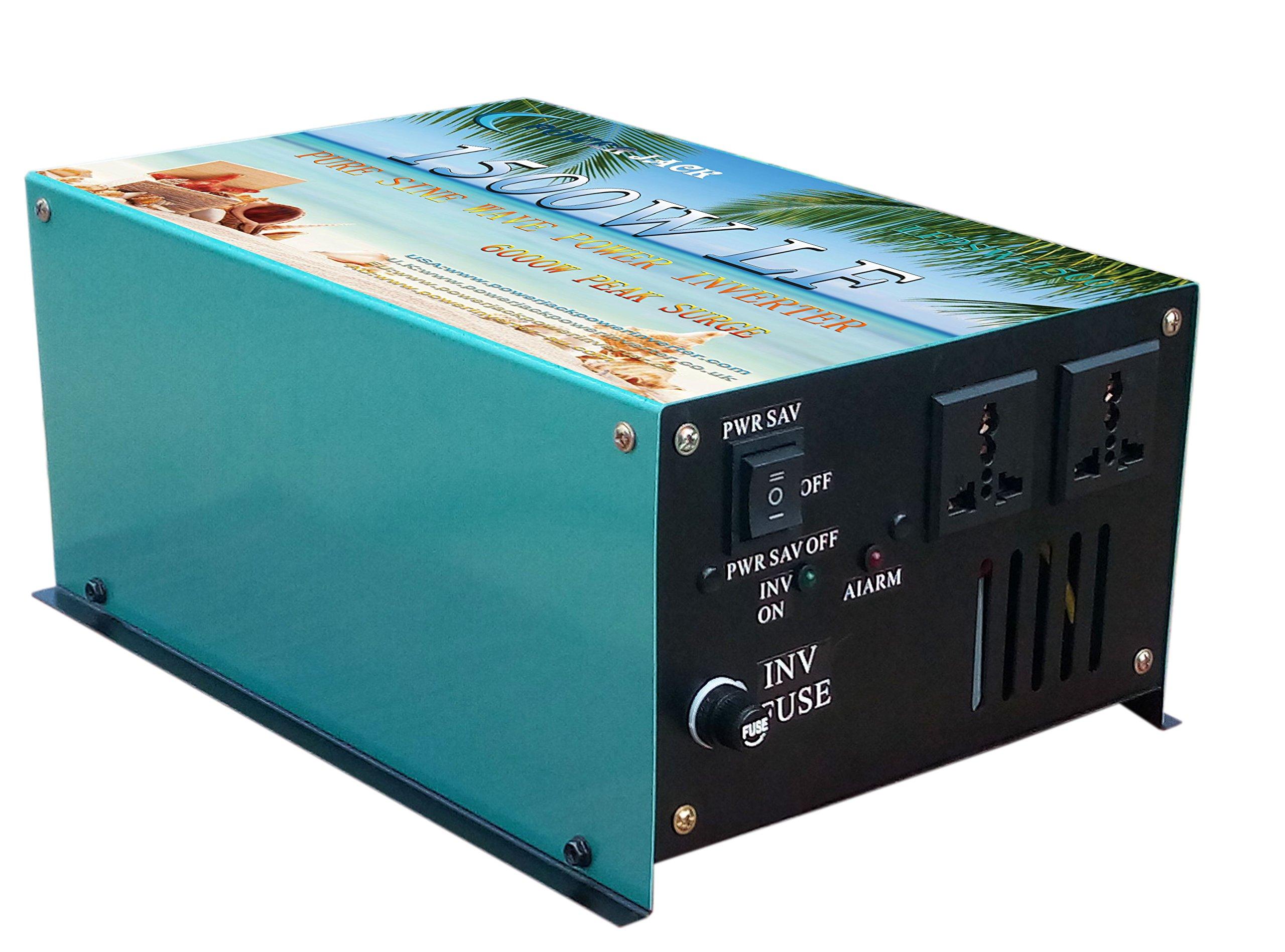 6000W peak 1500W LF Pure Sine Wave Power Inverter DC 12V to AC 110V 60Hz