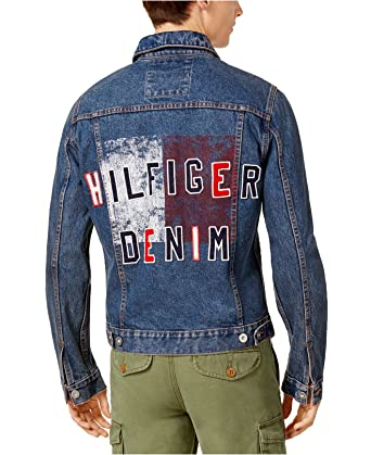 97f375cf Tommy Hilfiger Men's Denim Jacket Graphic Print Trucker (L) at Amazon Men's  Clothing store: