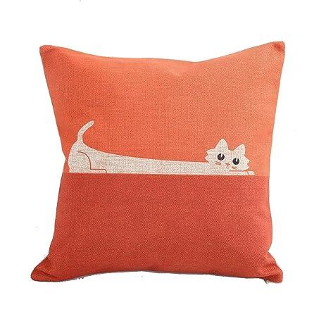 Amazon CoolDream Home Decor Sofa Orange Cat Cotton Throw