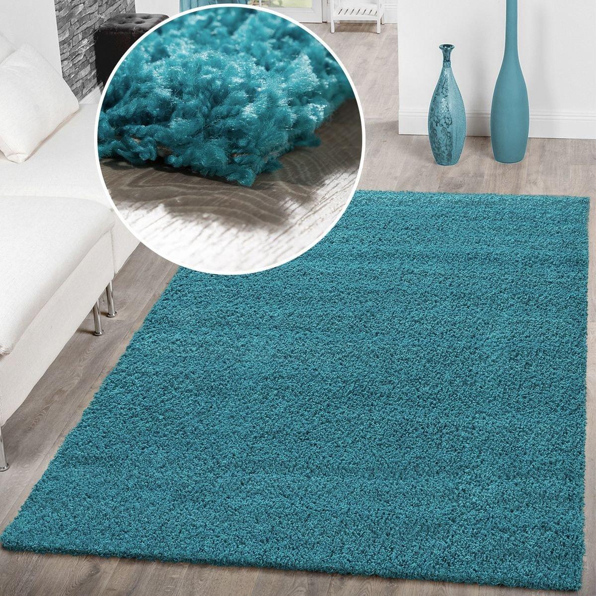 T&T Design Hochflor Shaggy Teppich Preishammer Uni Einfarbig in Türkis Modern, Größe 230x320 cm