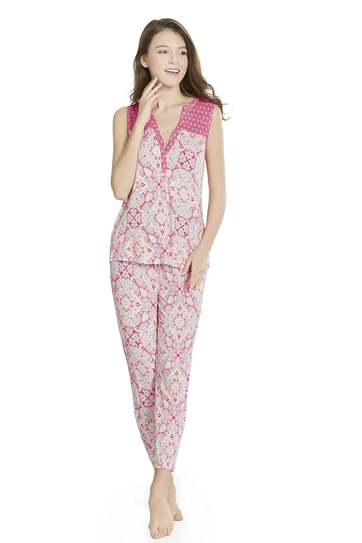 a5d867697a Gypsy Maze Vintage Floral Printed Women PJ Pajamas Set