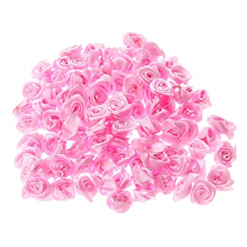 Dophee 100pcs Roseh Andgefertigte Petite Fleur Ruban Rose Couture