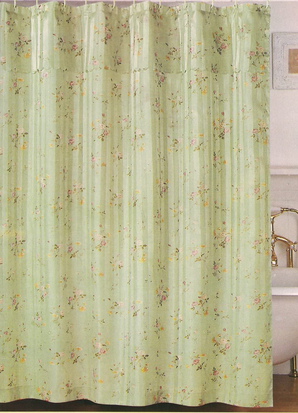 Beatrice Home Fashions Penny Shower Curtain W/att. Valance (Sage)