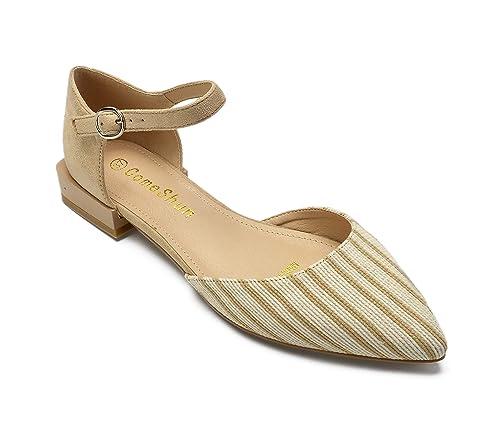 e9f8cab230d ComeShun Womens Shoes Ankle Strap Low Block Heels D Orsay Dress Pumps Beige  Size 5.5