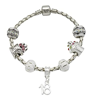 f668faf6b Ladies Cream Leather Birthday Charm Bracelet with Gift Box - Ages Available  18th, 21st,