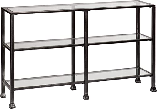 Southern Enterprises Three Tier Glass Console Table, Black Metal Distressed Finish