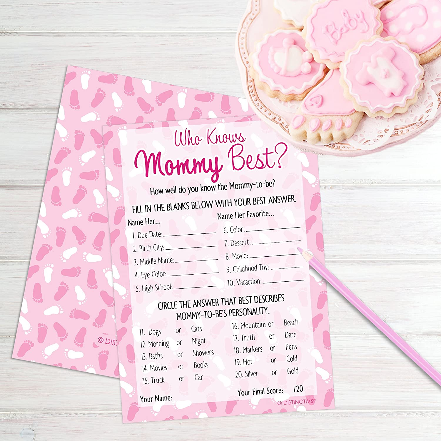 Amazon.com: Who Knows Mommy Best - Pink Girl Baby Shower Game Cards ...